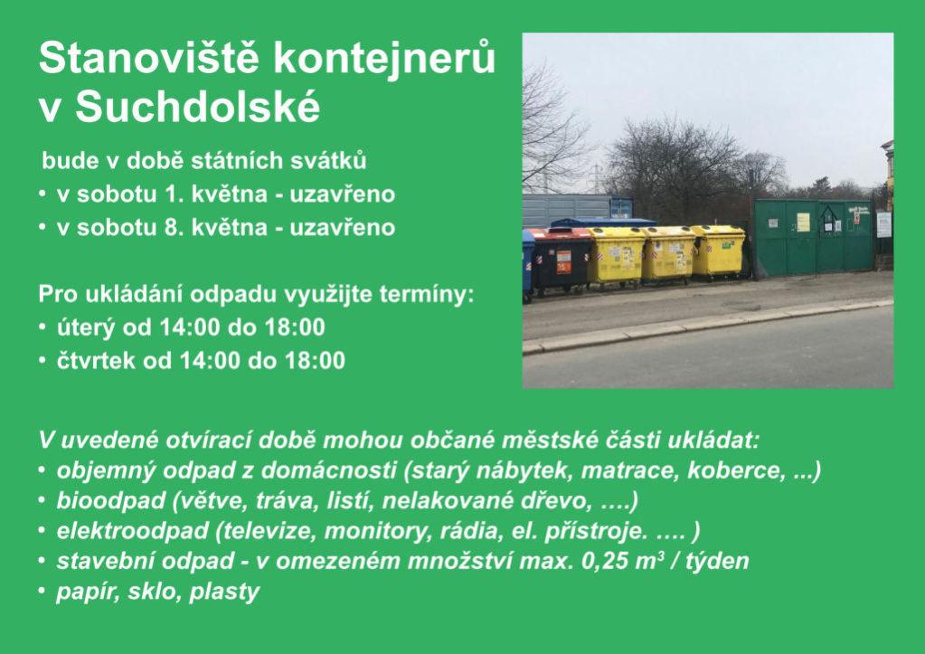 Omezení provozu stanoviště skontejnery na Suchdolské